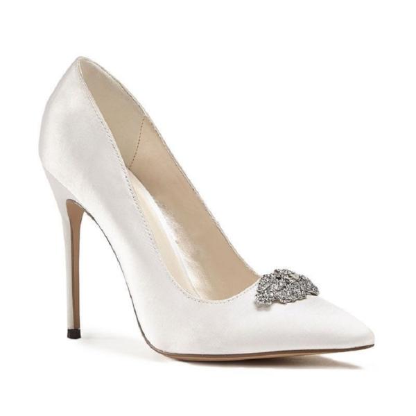 ALANDRA, törtfehér szatén cipő