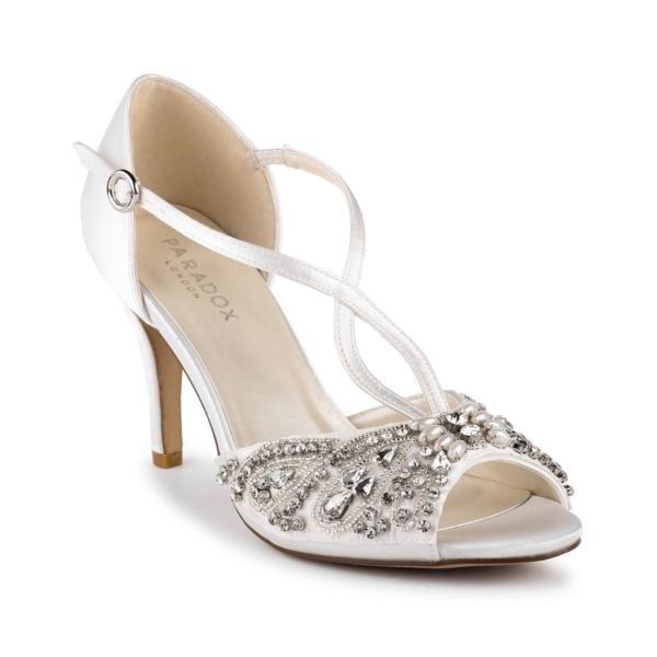 ELIN, törtfehér szatén cipő