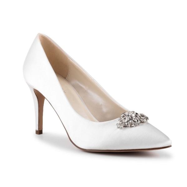 GODIVA, törtfehér szatén cipő
