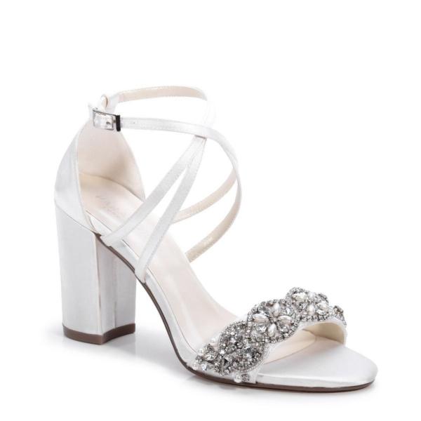 HIRA, törtfehér szatén cipő