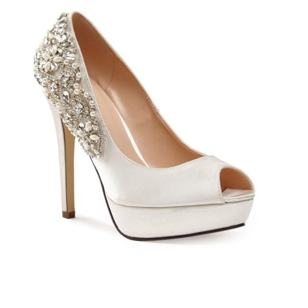 INDULGENCE, törtfehér szatén cipő