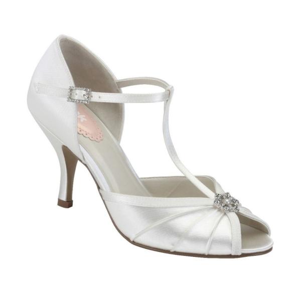 PERFUME, törtfehér szatén cipő