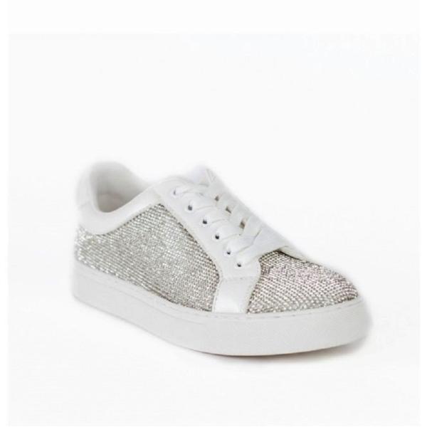 ZORA, fehér, kristályokkal kirakott tornacipő
